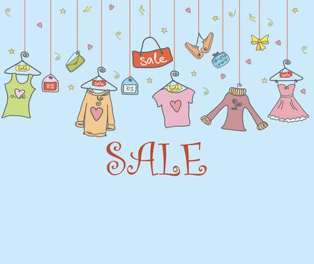 fondo de tiendas de moda, ropa y accesorios, mano doodle, ilustración vectorial