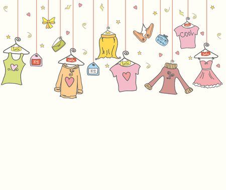 fashion shopping: fashion shopping background, clothes and accessories, doodle hand drawn,vector illustration