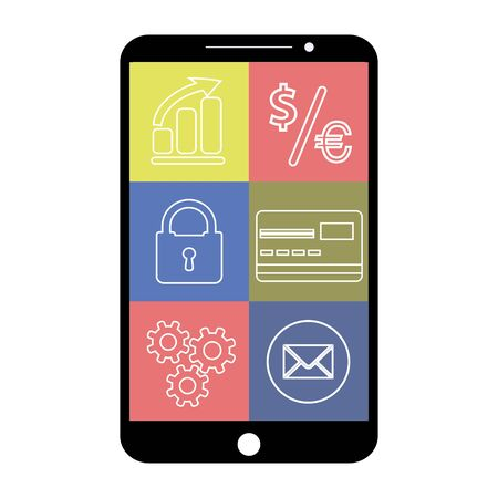 bussiness card: Smartphone with flat app icons, on white background , vector illustration