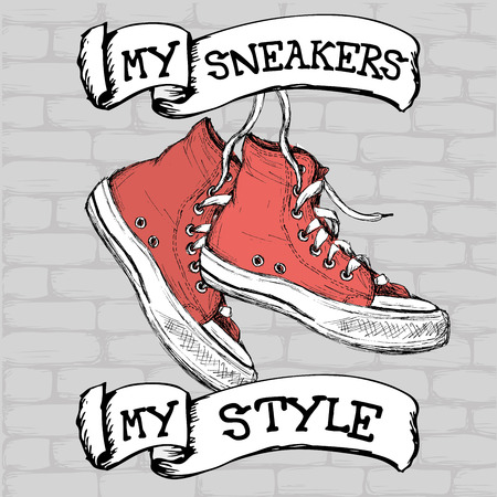 Vintage Sneakers on brick background, Hand Drawn, vector illustration.