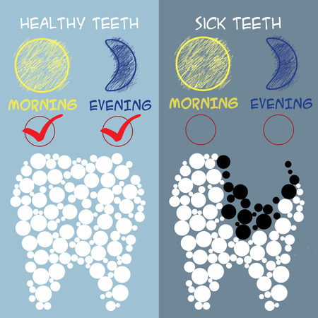 preventive: Dental care concept. Healthy and sick teeth. Vector illustration