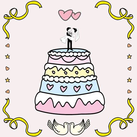 wedding cake: wedding cake. doodle hand drawn Vector illustration