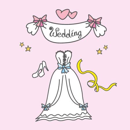 Tarjeta de felicitación con un vestido de novia, corazones, dibujo a mano, ilustración vectorial