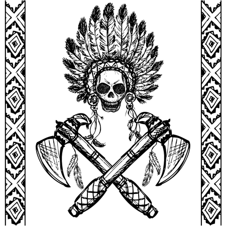 tomahawk: North American Indian chief with tomahawk, hand drawn,black on white, vector
