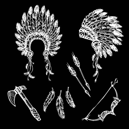 Collection of vintage hand drawn design elements: peace pipe, Indian hat, dream catcher, ax, feathers. White on black. Vector illustration