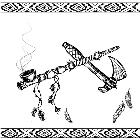 tomahawk: Vector illustration of a traditional Native American Peace Pipe and tomahawk, black and white