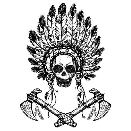 jefe indio norteamericano con hacha de guerra, a mano, negro sobre blanco, vector Ilustración de vector