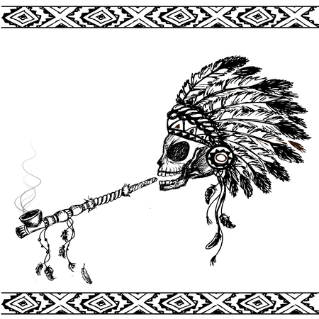 peace pipe: North American Indian skull with peace pipe, hand drawn vector