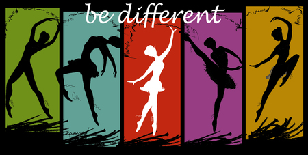be different: be different. Ballet dancers black and white. Vector illustration