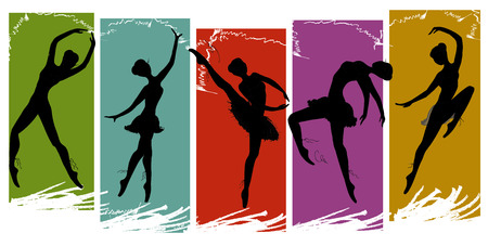 flexible sexy: set of pretty ballet dancers in various poses, vector illustration Illustration