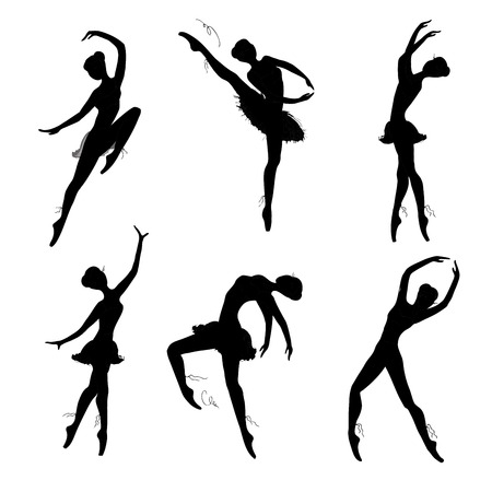 stage costume: Set of ballet dancers silhouettes, black on white background. Vector hand drawn illustration