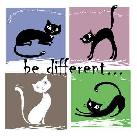 be different: Be different,one white and three black cat on a colored background, vector illustration