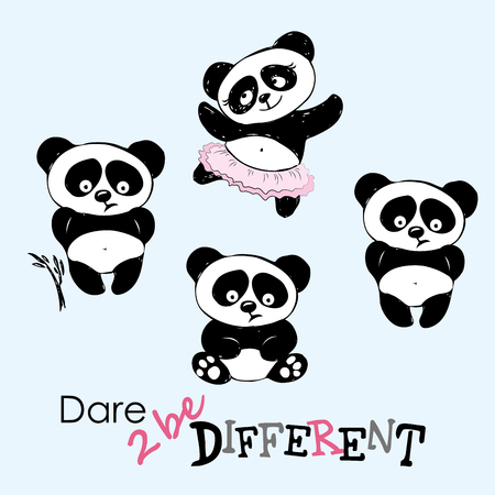 oppose: Be different, Cute Panda in various poses, hand drawing, vector