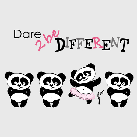 be different: Be different, Cute Panda in various poses, hand drawing, vector