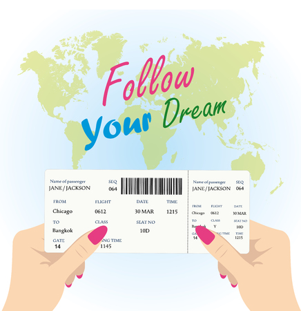 Women's hands are holding a boarding pass for the plane on a background map of the world, the inscription - follow your dream, vector illustration Illustration