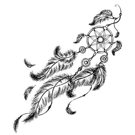 atrapasueños étnico con plumas. estilo indio americano. Aislado en el fondo blanco. ilustración vectorial