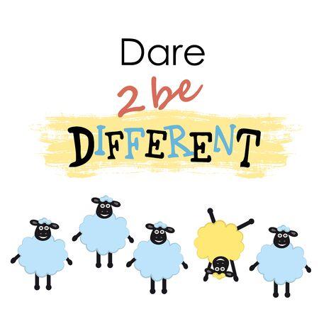 pecore Fumetto, una pecora diverso da altri, il coraggio di essere diversi, illustrazione vettoriale Vettoriali