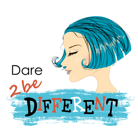 be different: Fashion Woman with  beautiful blue Hair.Dare to be different, Vector Illustration. Illustration