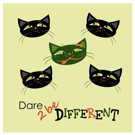 oppose: Five cats, one different from the others, vector illustration Illustration