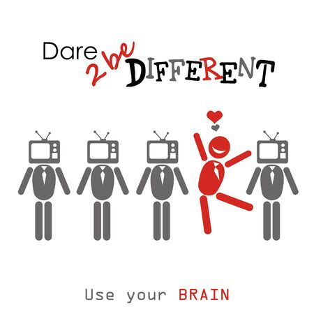 dare: Dare to be diferent.man with TV head , one different, vector illustration