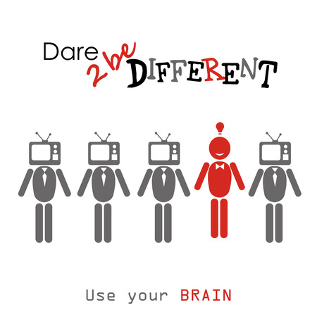 oppose: Dare to be diferent.man with TV head , one different, vector illustration