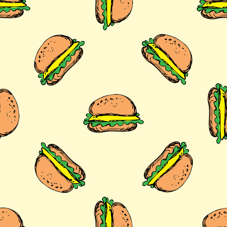 sauces: Seamless pattern cheeseburger with onion lettuce and sauces in bun. hamburger, hand drawn vector Illustration