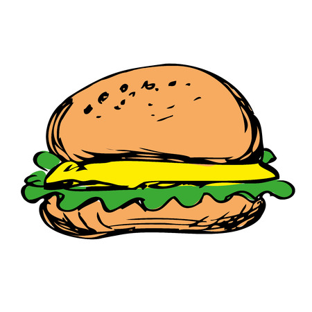 sauces: cheeseburger with onion lettuce and sauces in bun. hamburger, hand drawn vector on white