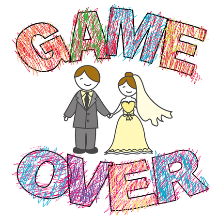 Funny wedding, Game Over.Lettes in child painting style. Vector illustration Illustration