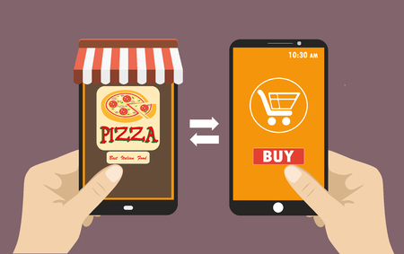 made to order: Vector flat illustration .Hand holding smart phone, order pizza using a smartphone in pizzeria,  e-commerce on the phone. Illustration