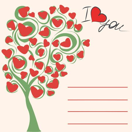 love tree: Greeting card, love tree, the inscription I love you and place for an inscription, vector illustration