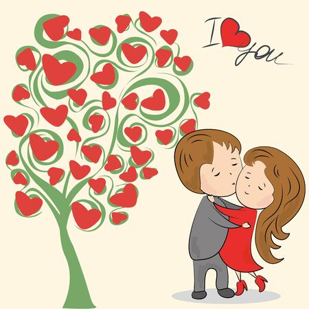 love tree: Greeting card, love tree, the inscription I love you, loving couple and a place for an inscription, vector illustration