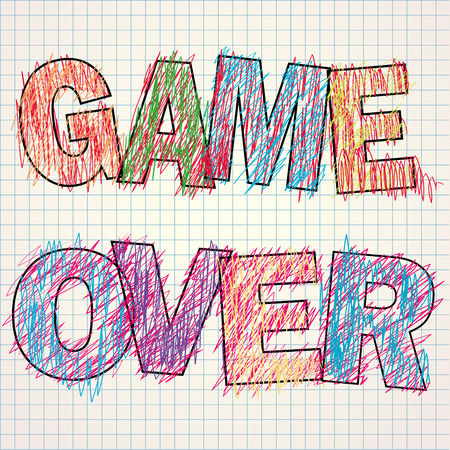 unsuccess: Game Over painted childrens style pencil,vector illustration Illustration