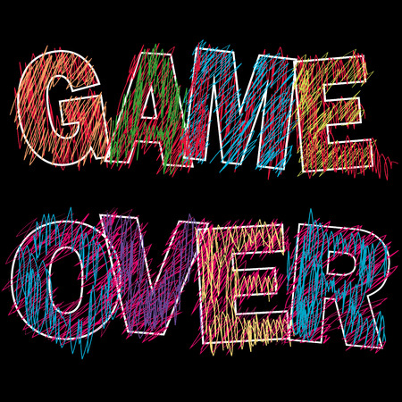 unsuccess: Game Over painted childrens style pencil on black,vector illustration Illustration