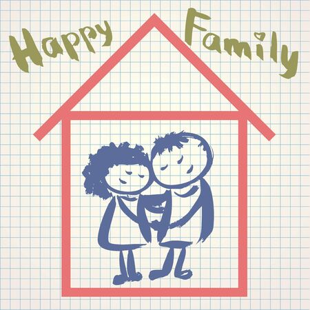 happy couple house: A happy family. Vector illustration in a childrens style on the notebook sheet, hand drawing