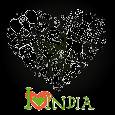 lady cow: Set of India  heart shaped on black background , cartoon icons ,vector illustration