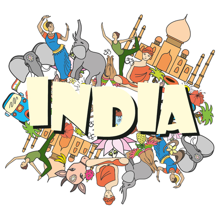 Inde jeu coloré, illustration vectorielle