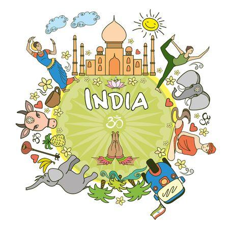 serpiente caricatura: Bienvenido a India . Establecer India iconos y símbolos de vector de color, ilustración vectorial