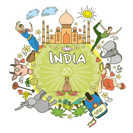 serpiente caricatura: Welcome to India . Set India color vector icons and symbols , vector illustration