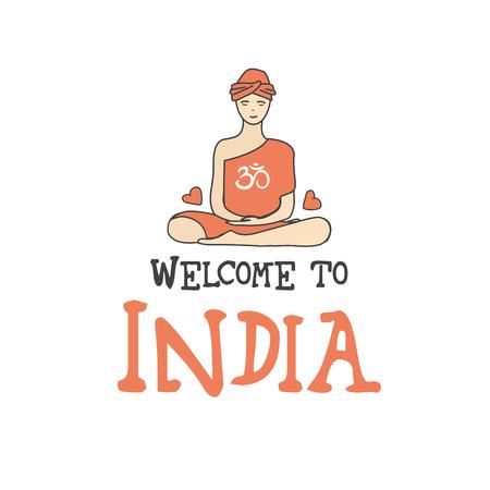 sari: Welcome to India .Buddha symbol, vector illustration