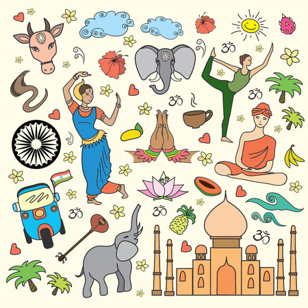 Ensemble de l'Inde icônes de bande dessinée, illustration vectorielle Vecteurs