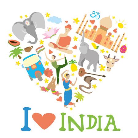 Ensemble de l'Inde en forme de coeur, icônes de bande dessinée, illustration vectorielle Vecteurs
