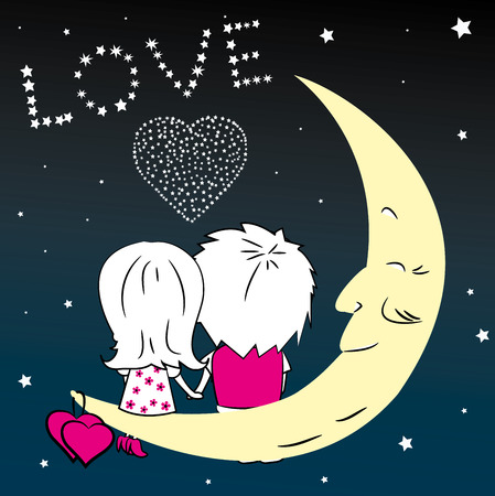 man on the moon: Loving couple man and woman sitting on the moon in the night city, vector