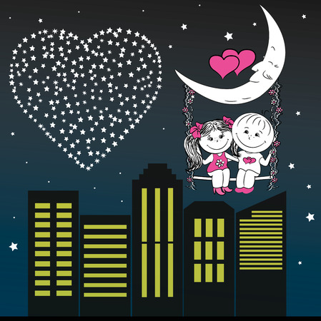loving couple: Loving couple man and woman sitting on the moon swing  in the night city, vector