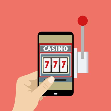 wining: Hand Holding Mobile Phone, casino in smartphone, vector illustration Illustration