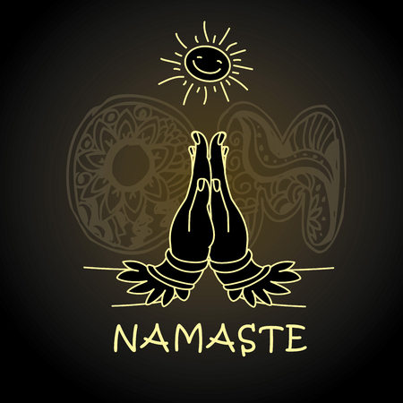 Welcome gesture of hands of Indian woman character in Namaste mudra,Om - letteron background, vector