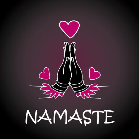 namaste: Welcome gesture of hands of Indian woman character in Namaste mudra on insulated background in vector