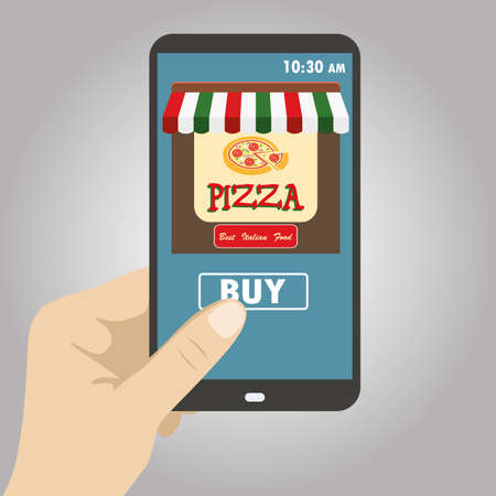 made to order: Vector flat illustration .Hand holding smart phone, order pizza using a smartphone in pizzeria