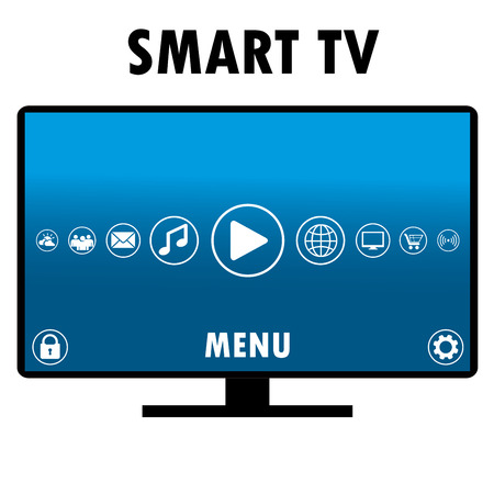 tft: Smart TV with different icons, flat design, vector illustration. Illustration