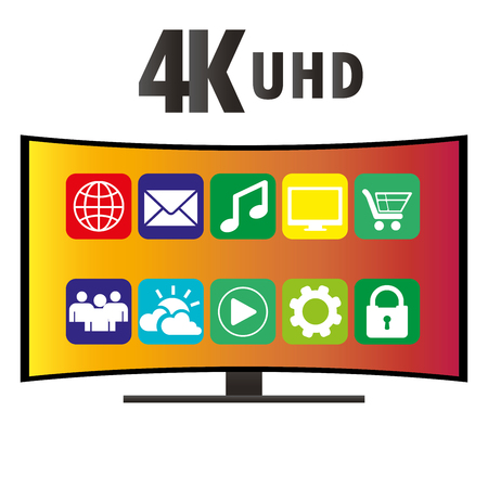 contrast resolution: 4K Ultra HD Modern Curved Screen Smart TV with icons of various applications, flat vector illustration