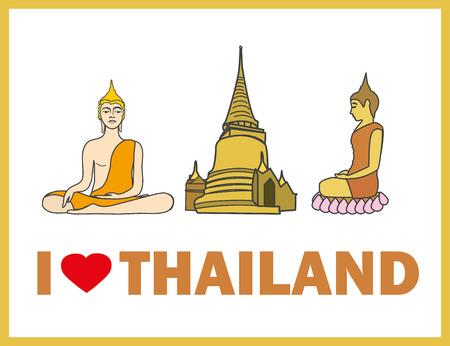 stupa: I love Thailand, Buddha and stupa, vector illustration
